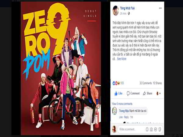 Tăng Nhật Tuệ viết tâm thư phủ nhận việc gạ tình, đánh đập thành viên Zero 9
