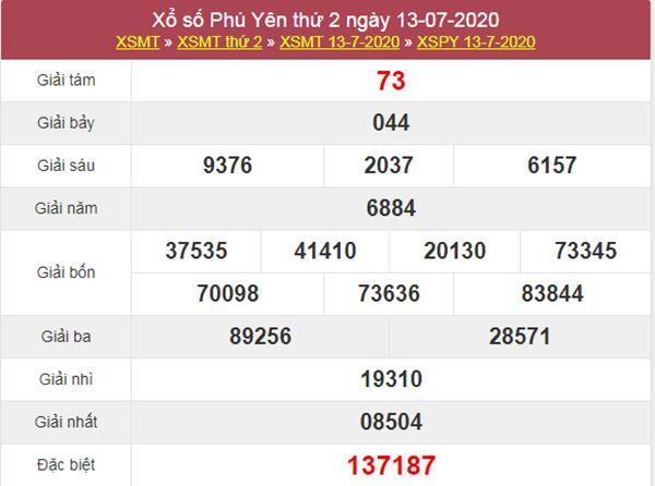 Soi cầu KQXS Phú Yên 20/7/2020 thứ 2 cực chuẩn xác