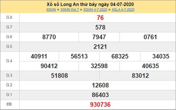 Thống kê XSLA 11/7/2020 chốt KQXS Long An thứ 7
