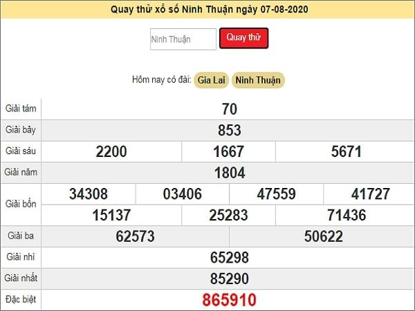 Quay thử xổ số Ninh Thuận ngày 7 tháng 8 năm 2020