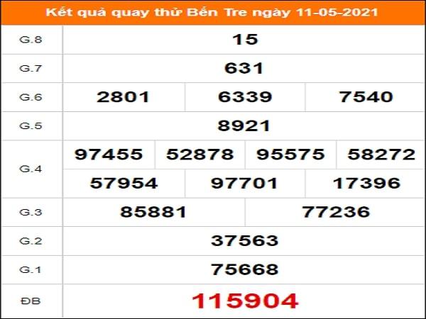 Quay thử kết quả xổ số Bến Tre 11/5/2021