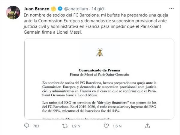 Tin bóng đá QT chiều 9/8: Barca đâm đơn lên Ủy ban châu Âu